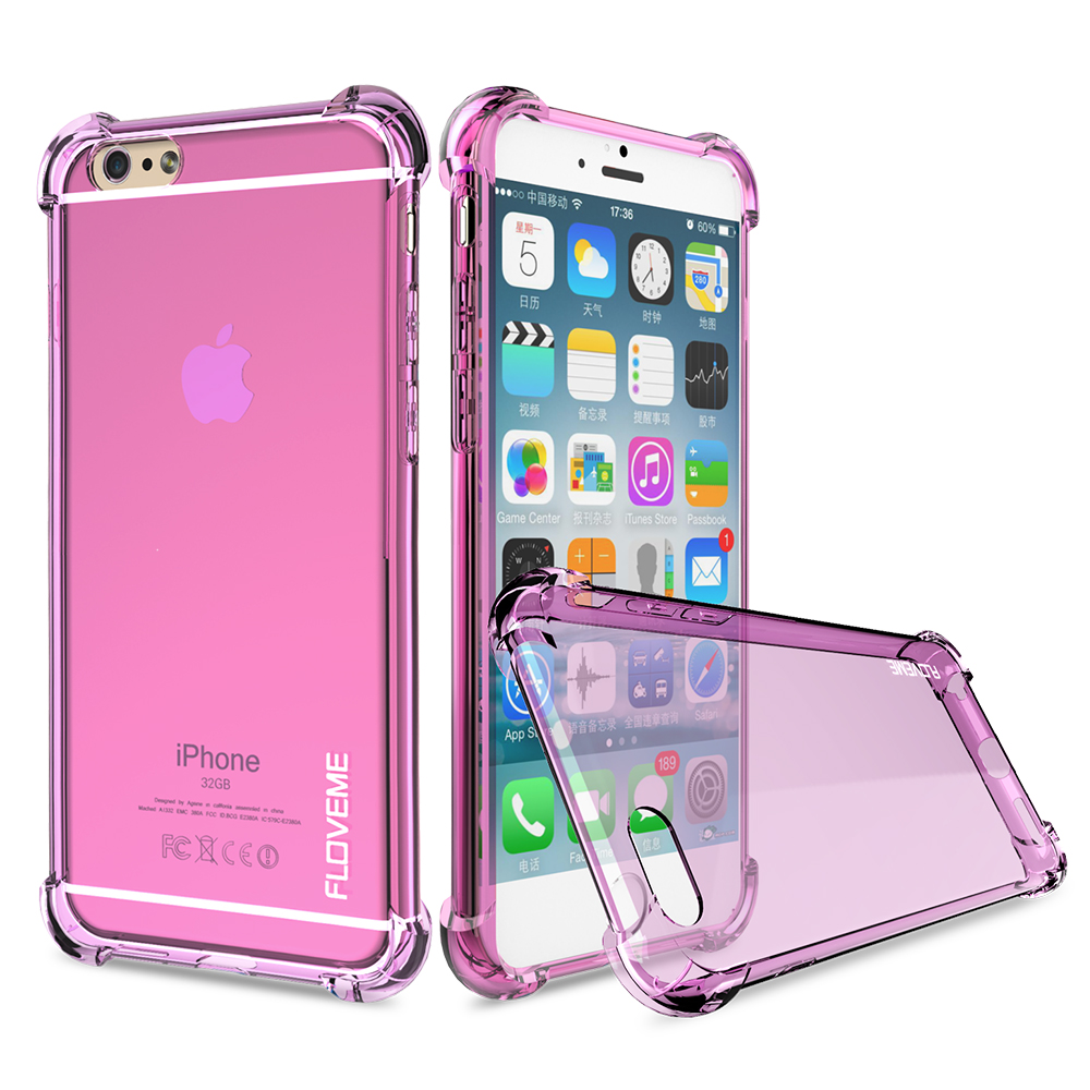 new styles 9e06b 3d6ac FLOVEME 6s 7 Plus Shockproof Case For iPhone 7 iPhone 6 6S Plus Clear Soft  Rubber Back Phone Cover For iPhone 6 6S Plus 7 Plus-in Fitted Cases from ...