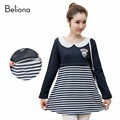 Winter Warm False Two Pieces Breastfeeding T Shirt Dresses Plus Velvet Nursing Tops Stripe Splicing Maternity Clothing