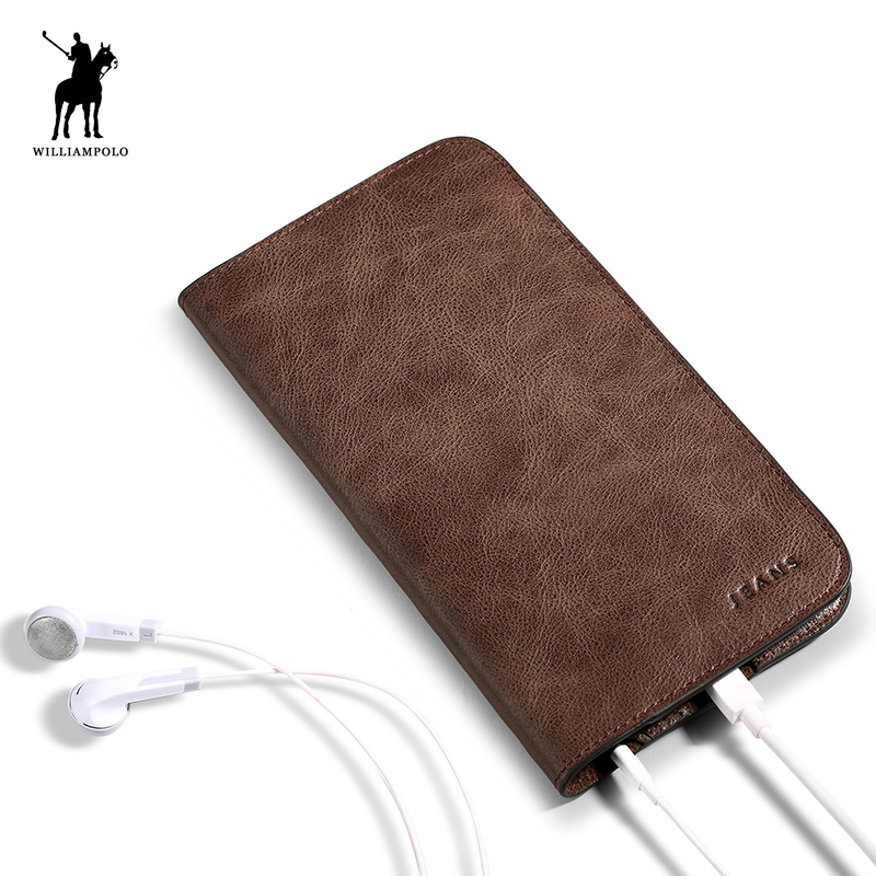 WILLIAMPOLO 2017 New Design Leather Slim Wallet Card Holder Phone Case Wallet For Men POLO181 never leather badge holder business card holder neck lanyards for id cards waterproof antimagnetic card sets school supplies