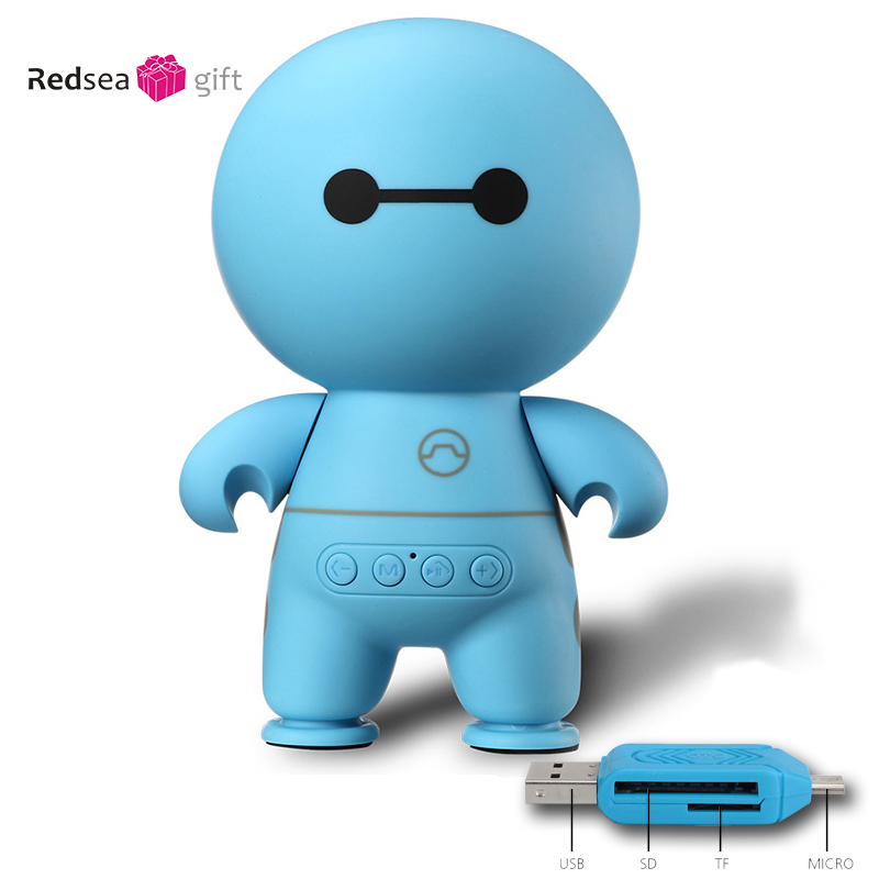 Hot selling robot mp3 music mini portable Hands Free Bluetooh speaker with USB disk HiFi Stereo Music Speaker With Mic For Phone