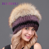 2018 New Fashion Women Warm Rabbit Fur Hat Fox Fur Sewing Strips Flower Head Cap Headgear