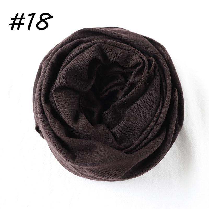 Один кусок Хиджаб Женский вискозный Джерси-шарф Мусульманский Исламский сплошной простой Джерси хиджабы Макси шарфы мягкие шали 70x160 см - Цвет: 18 coffee