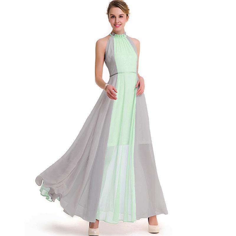Розовый синий шить богемное пляжное платье Для женщин пикантные шить Холтер без бретелек Винтаж длинное платье Лето 2017 плюс Размеры 3XL