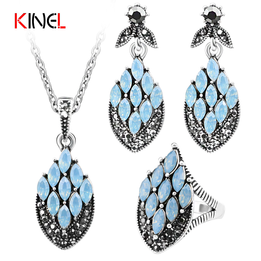 Kinel Fashion Crystal Vintage Jewelry sets For Women Fire Totem Bohemian Jewelry 3 Color Rhombus Resin Ring Necklace Earrings Se ...
