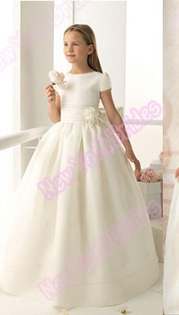 Custom 2018 Ivory white   flower     girls     dresses   ball gown floor length cap sleeve bow satin first holy communion   dresses