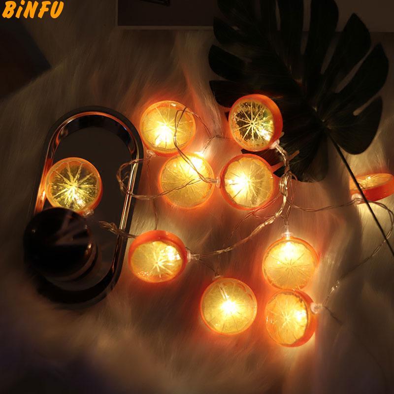 1.5M 10 Led Fairy Fruit Orange Lemon String Lights Decoration For Christmas Garland lustre Wedding Decoration Battery Operated