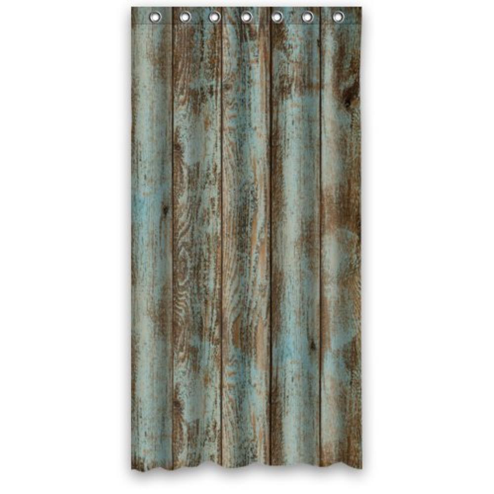 Rustic Old Barn Wood Polyester Bathroom Custom Shower Curtain Decor 36Wx72H Inch Comfortab
