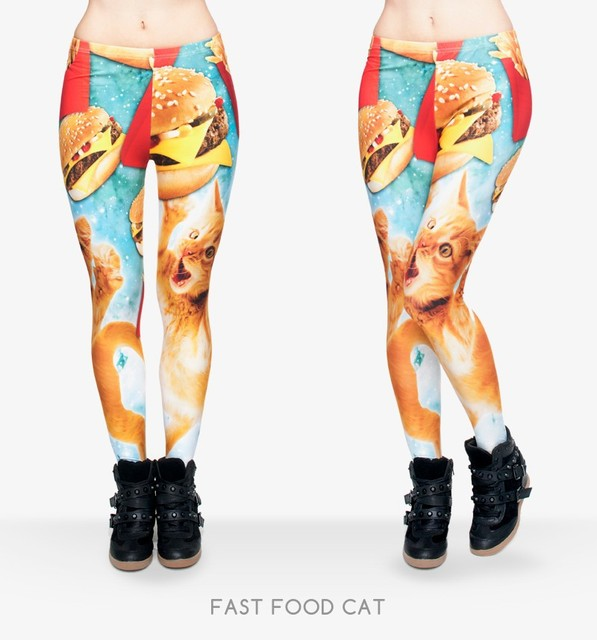 Funny Leggings Women Girls Funny 3D Fast Food Cats Printed Adventure Time Leggings