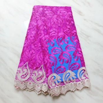 5Yards/pc Gorgeous fuchsia french net lace embroidery with rhinestone decoration african mesh lace fabric for dress BN125-2