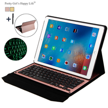 For iPad Pro 12.9 inch 2017 Wireless Bluetooth Keyboard Case For iPad Pro 12.9 2017 Tablet Flip Leather Stand Cover+Stylus