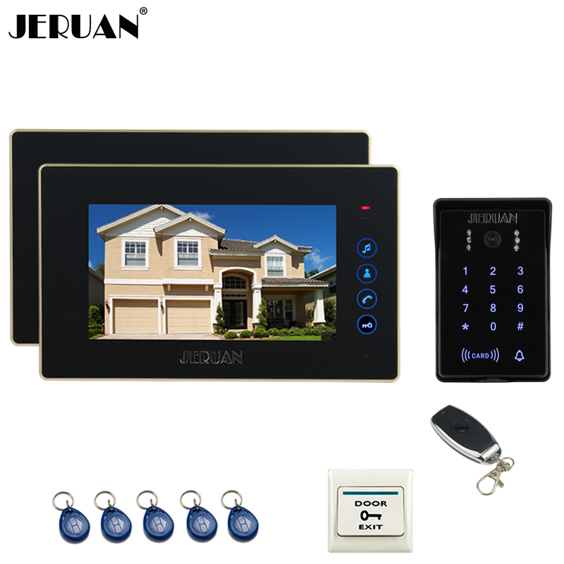JERUAN Home wired 7 inch Touch key video doorphone intercom system 2 Monitor 700TVL waterproof touch key password keypad cameraJERUAN Home wired 7 inch Touch key video doorphone intercom system 2 Monitor 700TVL waterproof touch key password keypad camera