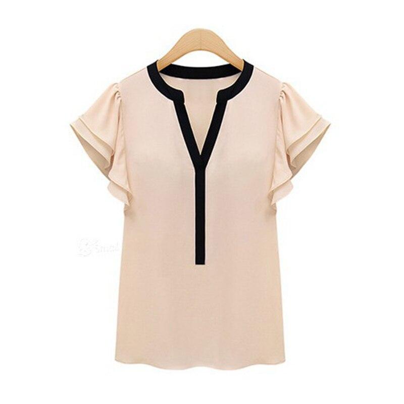 Mujeres blusa de gasa Blusas 2015 del verano del estilo Shirt Tops corto manga d