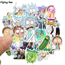 Flyingbee 35 Pcs Rick and Morty Graffiti Stickers for Kids DIY Luggage Laptop Skateboard Car Bicycle Waterproof Sticker X0249