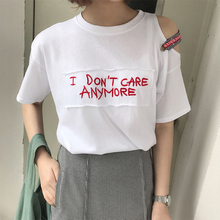 Summer hot sell letters embroidery exposed shoulder short – sleeved women 's T – shirt loose sleeves casul shirt
