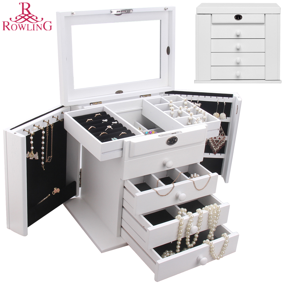 Large Wood Jewelry Box White Jewellery Lock Cabinet Mirror