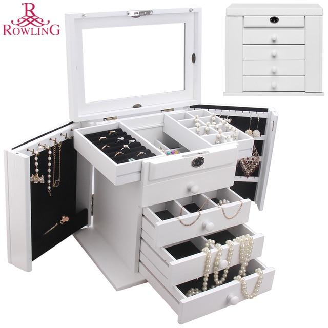 ROWLING Large Wood Jewelry Box White Jewellery Lock Cabinet Mirror