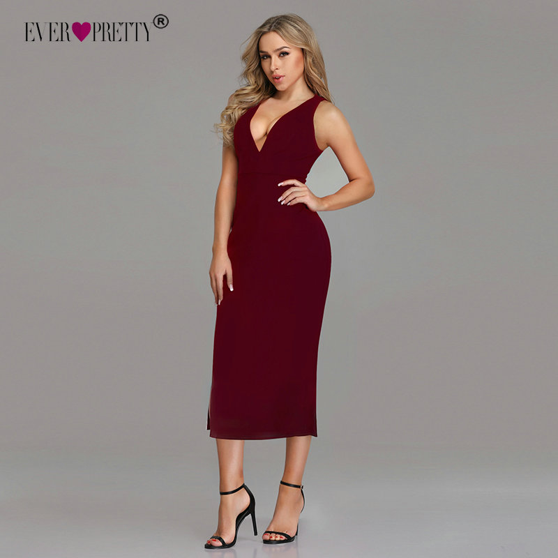 Robe De Soiree Ever Pretty Elegant Burgundy Evening Dresses Tea-Length Split Simple Design EP07234BD Women Formal Evening Gowns