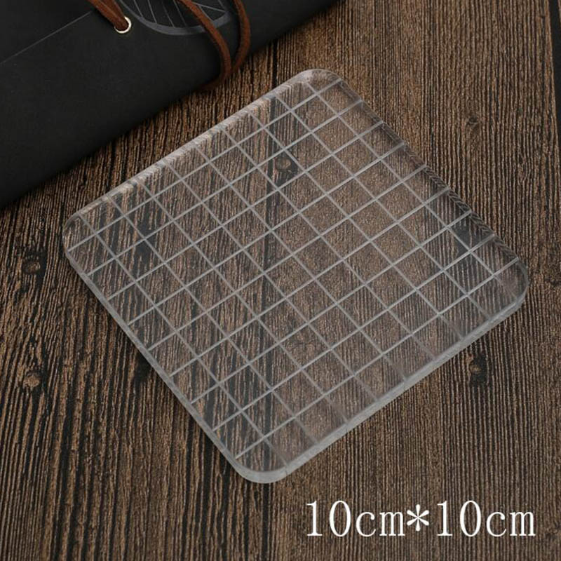 High Quality Transparent Lattice Geometry Acrylic Handle For Diy Clear Stamps Scrapbooking/Photo Album Decorative Card Making lovely animals and ballon design transparent clear silicone stamp for diy scrapbooking photo album clear stamp cl 278