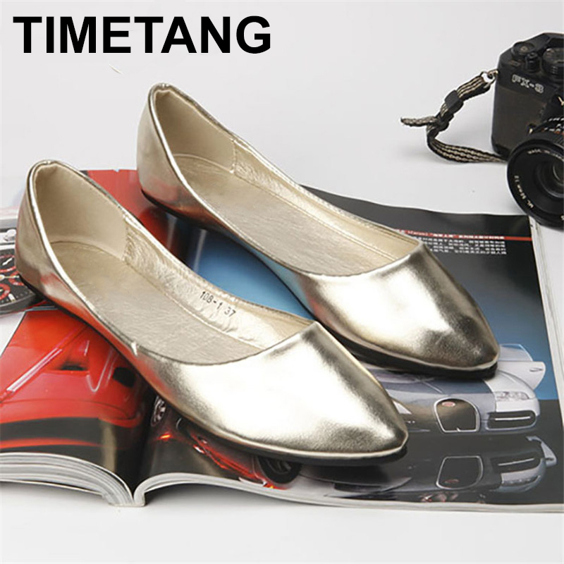 TIMETANG Big size 40.41 classic women simple metal color pu flat shoes lady shallow mouth casual shoes C154 siketu sweet bowknot flat shoes soft bottom casual shallow mouth purple pink suede flats slip on loafers for women size 35 40