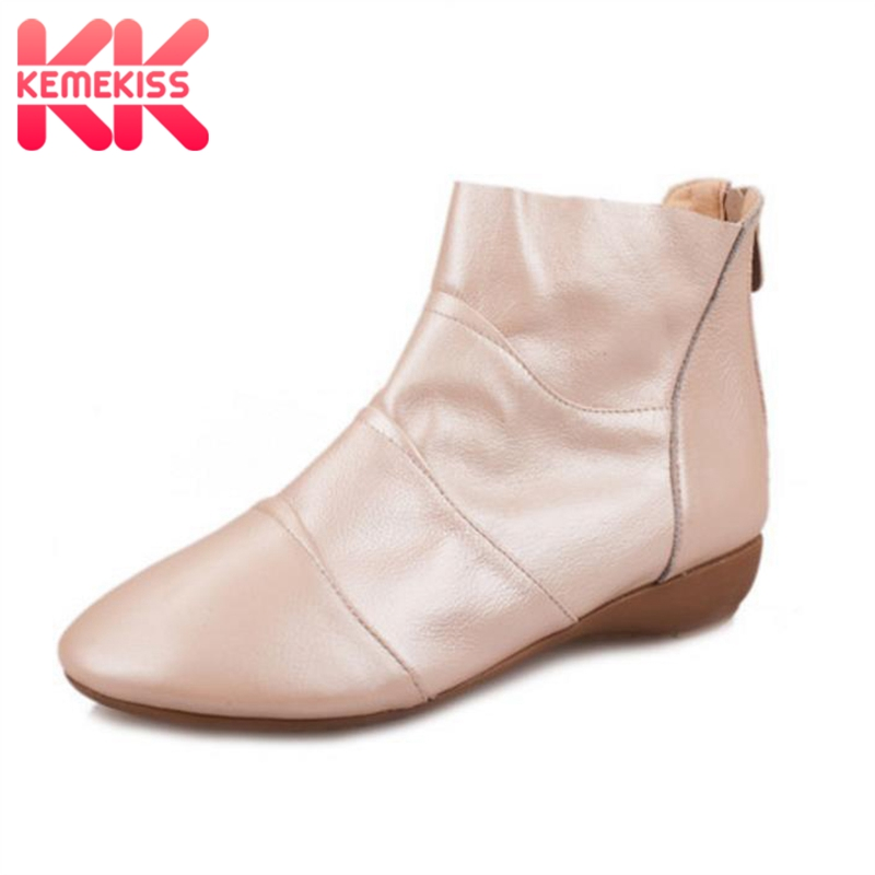 KemeKiss women real natrual genuine leather flat ankle boots half short botas snow winter boot footwear shoes R4612 size 34-39 women real genuine leather flat ankle boots cotton snow half short bota quality warm winter boot footwear shoes r7603 size 34 40