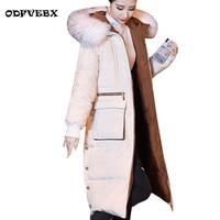 2020 Parkas womens winter down cotton coat warm fashion medium long outerwear Over the knee Fur collar park cotton jacket female