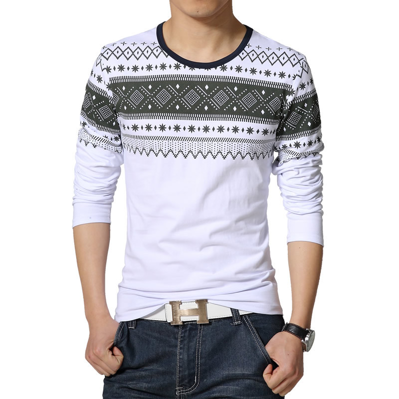 2017 new mens long sleeved t shirts korean version of for Long t shirt trend