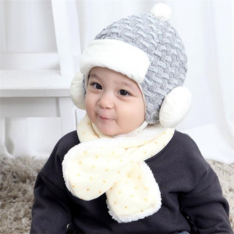 2018 Babymütze Herbst Winter Plus Samt Ohr Häkeln Hut Pelz Schwarz Grau Wollmütze Jungen Und Mädchen Warme Baby Niedlichen Karierten Hüte
