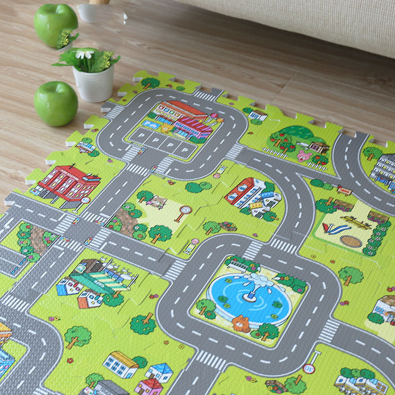New! JCC EVA Baby Foam Puzzle Play Mat,9pcs/set Floor Exercise Tiles rug and carpet for kids. Each one=30x30cm. All area 90X90cm magic forest deer pattern water absorption area rug