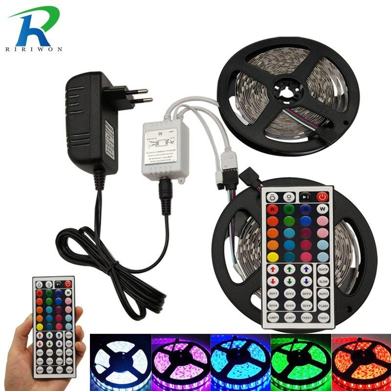 5M 10M 15M RGB Led Strip Light SMD5050 RGB LED Strip Flexible DC12V Stripe Diode Tape  With 44Key Remote Controller Power Supply