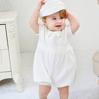 2pcs Set Baby Boy Clothes Shorts Romper Beret Hat Christening Pageant Party Outfit Baby Photo Shoot Costume Cute Boy Clothes