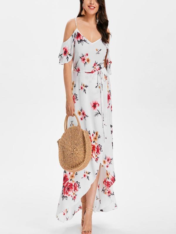 Women's Long dress chiffon Short Sleeve off-Shoulder Boho beach Print Flower summer dress plus size long dress vestido *N 1