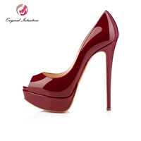 Original Intention Women Pumps New Fashion Sexy Peep Toe Thin High Heels Shoes Woman Pumps Plus US Size 4 15