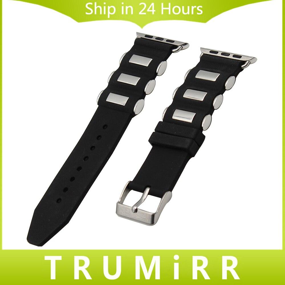 Prix pour Caoutchouc Bracelet En Silicone + Adaptateurs pour iWatch Apple Watch 38mm 42mm Bracelet En Acier Inoxydable Boucle Bande Bracelet Noir
