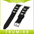 Correa de caucho de silicona + adaptadores para iwatch apple watch 38mm 42mm hebilla de acero inoxidable correa de pulsera pulsera de la venda negro