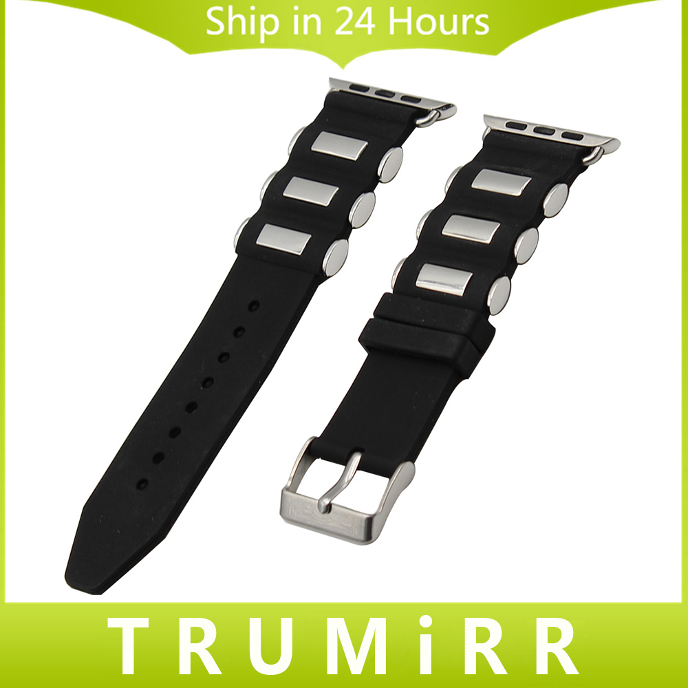 Silicone Rubber Watchband + Adapters for iWatch Apple Watch 38mm 42mm Wrist Strap Stainless Steel Buckle Band Bracelet Black 20mm 23mm high quality rubber silicone watchband for armani silicone rubber wrapped stainless steel watch strap for ar5906 5890