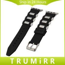 Caoutchouc Bracelet En Silicone + Adaptateurs pour iWatch Apple Watch 38mm 42mm Bracelet En Acier Inoxydable Boucle Bande Bracelet Noir