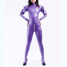 Unique Latex Catsuit Rubber Women Purple Full Cover Bodysuit With White Zipper Size XXS-XXL(China)