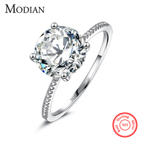 2017 Classic Luxury Real Solid 925 Sterling Silver Ring 3Ct 10 Hearts Arrows Zircon Wedding Jewelry
