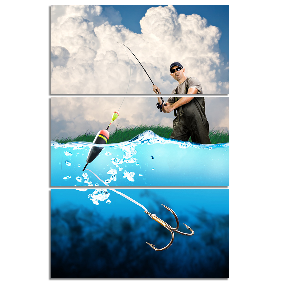 Fishing Man By Sea Canvas Wall Art 1