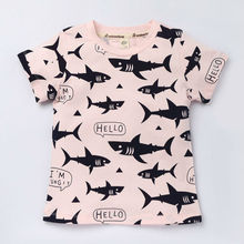 Fish animal print t-shirt for boy short-sleeved cotton t-shirt summer