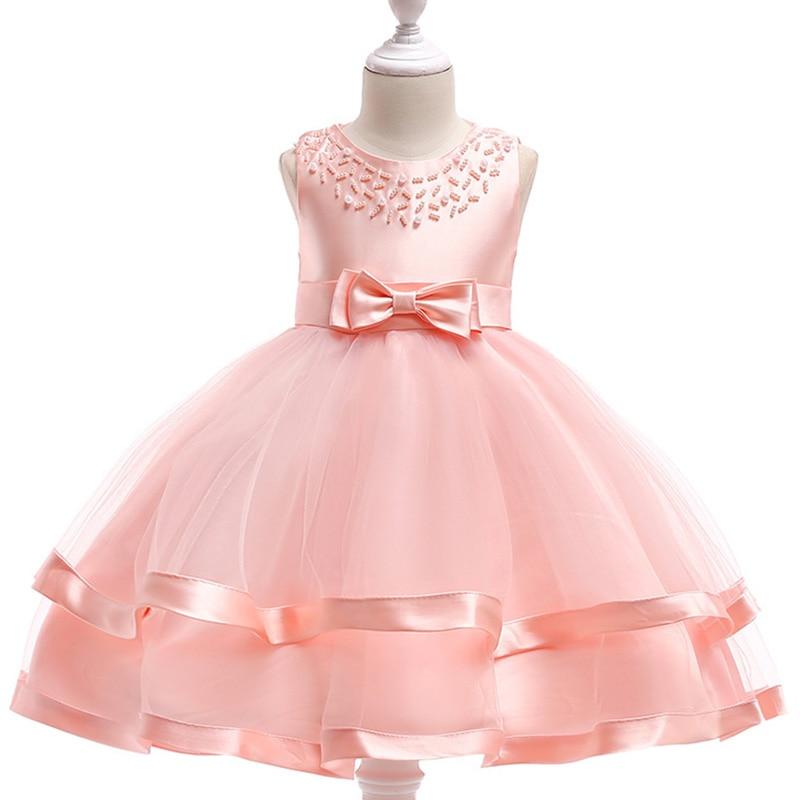 Летнее платье принцессы для девочек вечерние платья для девочек платье с жемчужинами тюль кружева малыш цветок свадебное платье на день ро...