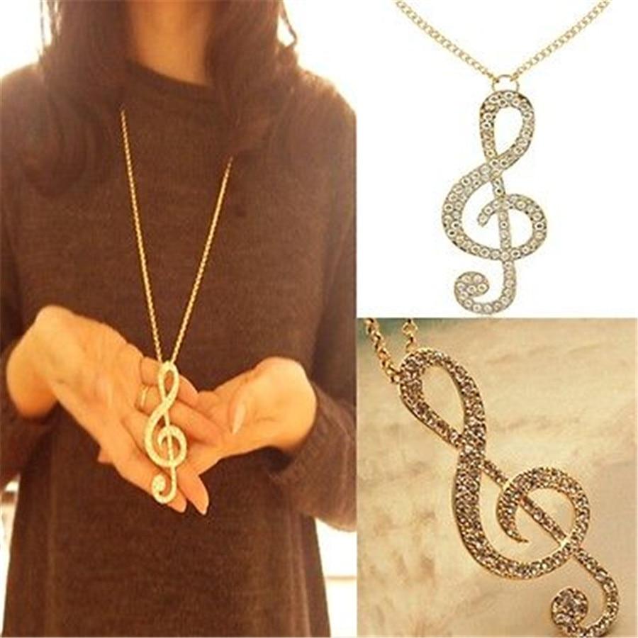 ᐂfd4130 New ᗜ Ljഃ Women Women Gold Crystal Music Note