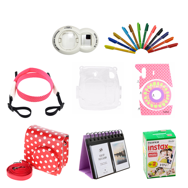 Fujifilm Instax Mini 8 Film 20 sheets + bag + Photo bookmarks + wrist strap + Protect case + Close-Up Lens + Pen + stickers fujifilm instax mini 8 black