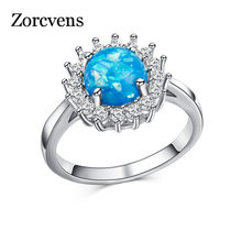 ZORCVENS Blue Fire Opal Star Flower Rings For Women Vintage Fashion Silver Color Zircon Ring Wedding Jewelry(China)
