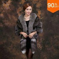Ultralarge Best fox fur cape outerwear women's luxury ladies genuine leather lady's luxury fur out wear wholesale free shipping
