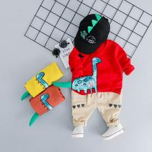 hot deal buy zwxlhh 2019 new style baby boys girls clothing sets infant newbrown casual clothes suit children kids dinosaur suit