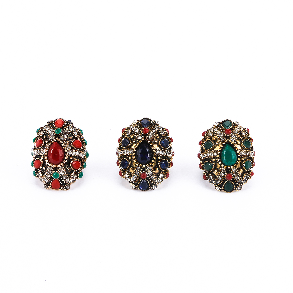 Fashion Women Accessories Finger Ring Unique Design Luxury Large Colorful Crystal Ring Party Jewelry Turkey Fine Jewelry Gifts