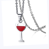 Fashion Jewelry Stainless Steel Women S Wine Glass Design Necklace Pendant Stainless Steel Bridal Jewelry Gift