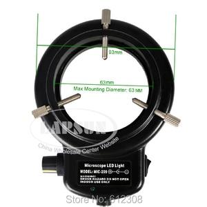 Image 2 - Регулируемый кольцевой светодиодный светильник 6500K 144, осветительная лампа для промышленного стереомикроскопа, объектив камеры, увеличительное стекло, адаптер 110 240 В