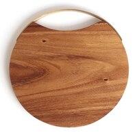DSHA Solid Wood  Fruit Cutting Board  Wood Chopping Board  Kitchen Circular Chopping Board